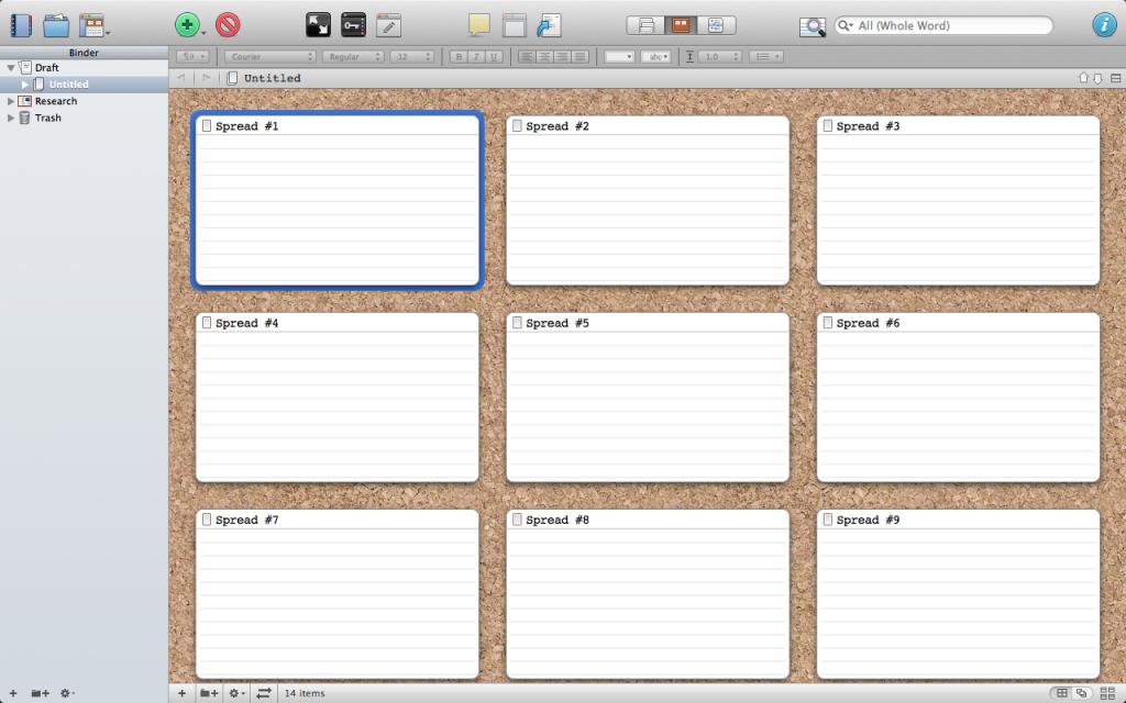 storyboard template in scrivener