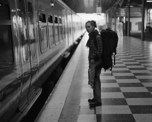 Backpacker Waiting for her Train