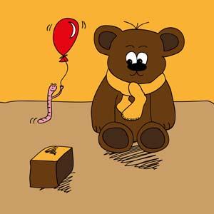 A bear, a worm, and a box