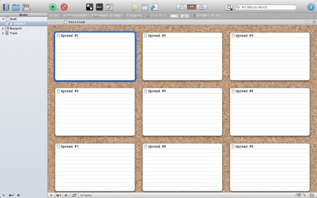 Storyboard template in Scrivener